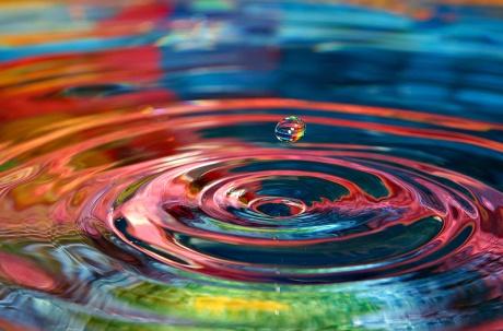 Drop ripples rainbow water
