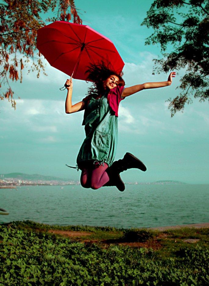 Flying Red Umbrella
